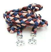Navy Rose Gold With Silver Celtic Heart Knot V4 Wedding Handfasting Cord