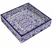 Yair Emanuel Hand Painted Wood Matzah Tray, Floral - Blue Passover Pesach