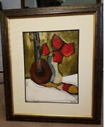 Mia Stone Oil Paint Signed Framed Matted Floral Musical Large 38in