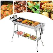 Stainless Steel Foldable Charcoal Bbq Grill Set Outdoor Portable Barbecue Rack
