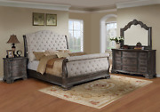 New Queen Or King 4pc Upholstered Sleigh Bed Antique Gray Bedroom Set B/d/m/n