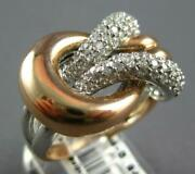 Large .84ct Diamond 14kt White And Rose Gold Classic Multi Row Love Knot Fun Ring