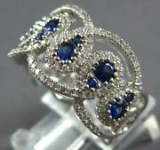 Large 1.46ct Diamond And Aaa Sapphire 18k White Gold 3d Tear Drop Anniversary Ring
