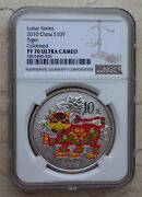 Ngc Pf70 Uc China 2010 Tiger Silver Colored 1 Oz Coin