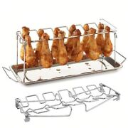 Stainless Steel Chicken Wing Leg Rack Bbq Grill Holder With Drip Pan Oven Baking
