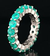 14k White Gold Eternity Ring Natural Green Emerald 5.05ct.