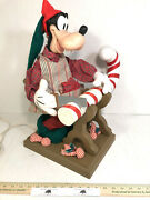"""Santa's Best Animated Christmas Disney Goofy Figure Sawing Candy Cane - 21""""h"""