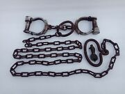 Antique Old Iron Handcuffs Lock With Police Chain Handle Hand Forged Collectible