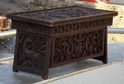 Antique Hand Made Dragon Carved Wooden Table Old Bird Carved Wooden Laptop Table