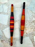 Vintage Wooden Lacquer Painted Bread Rolling Pin Old Indian Chapati Roller 2 Pc