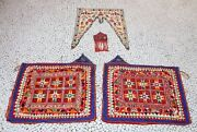 Vintage Hand Made Nandi Ornament Old Thread Work Cow Cart Decorative Cloth
