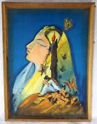 Antique Oil Hand Painting Mughal Queen Woman Painting By Sakina Collectible Old