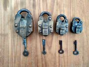 Antique Brass Tricky Padlock Old Push Button System Lock Brass Puzzle Lock 4 Pc