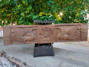 Antique Wooden South Indian Door Panel Peacock Carved Panel Hand Floral Carved