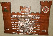 Us Marine Corps Honor Courage Commitment Wood Carved Castle Shaped Plaque