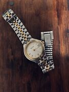 """Bulova Womens 2-toned Silver Gold Vintage Watch 7"""" Link Band 1"""" Face Very Nice"""