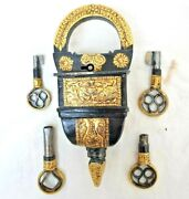 Old Antique Style Rare Embossed Gold Work 4 Keys Iron Tricky / Puzzle Lock And Key