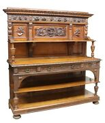 Antique Sideboard, Large Renaissance Revival Well-carved Early 1900s, Handsome