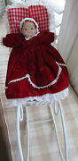 Vintage Victorian Christmas Porcelain Doll With Wicker Sleigh