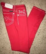 Miss Me Red Skinny Jeans White Stitching. Style Jd101558. Size 27. Euc Womens