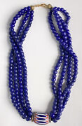 Venetian Large Chevron African Trade Bead Necklace 6 Layer Blue 3 Strand Rare