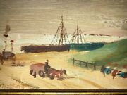 Antique Costal Scene-ships-black Americana Water Color On Wood