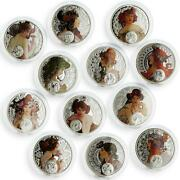 Niue Set Of 12 Coins Zodiac Signs By A. Mucha Colored Silver Coins 2010 - 2011