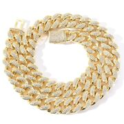 Yellow Gold Plated 925 Sterling Silver Moissanite Cuban Chain 22 Inch