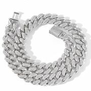 White Gold Plated 925 Sterling Silver Moissanite Cuban Chain 22 Inch