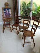 Antique Vintage 4 Tell City Hard Rock Maple Ladder Dining Kitchen Chairs 8032