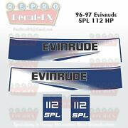 96-97 Evinrude 112 Hp Spl V4 Outboard Reproduction 4 Pc Marine Vinyl Decals