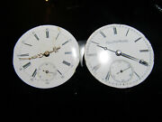 Lot Of 2 Vintage Pocket Watch Movements For Repair Or Parts Elgin No Name