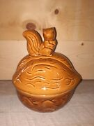 Vintage Ceramic Squirrel Walnut Cookie Jar Candy Dish Nut Bowl Canister With Lid