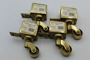 4 Vtg Brass Horizontal Casters Wheels Swivel Table Furniture Square Cup