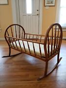 Baby Cradle 19th Century Antique Maple Spindle With Modern Bedding Accessories
