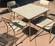 Vintage Mid Century Modern Mcm Cosco Folding Card Table And 4 Chairs White