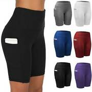 Womens Compression Sport Shorts Leggings Pockets Running Exercise Tight Pants D2