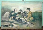 Antique Canvas Hand Painting Old Foreigner Hunting Scene Painting Collectible