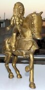 Vintage Hand Crafted Solid Brass Horse Statue Old Brass King Riding Horse Statue