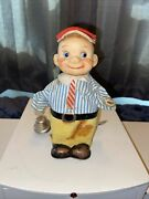 Rare Man Tin Lithographed Antique Vtg Wind Up Toy Made In Germany Rings Bell