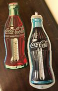 Two Vintage Coca Cola Coke Tin Thermometers Soda Pop Bottle Style Advertisement