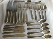 Antique Lunt Sterling Silver William And Mary Forks Spoons Knives 26 Pieces