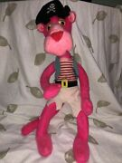 """Vintage 80s 1980 Pink Panther Plush Pirate Mighty Star 23"""" Stuffed Toy Posable"""