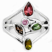 Natural Multi Tourmaline 925 Sterling Silver Ring S.7 Jewelry 1861