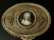 Gorgeous Antique Victorian Brass Jewelry Box With Hand Painted Porcelain Plaque
