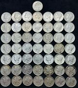 Roll 50 Mixed Dates Mercury Silver Dimes 1935 To 1944 10c. Xf/au/ms.