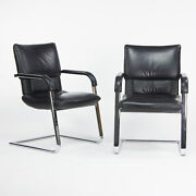 Pair Of 1986 Mario Bellini For Vitra Figura Imago Arm Chairs In Black Leather