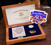1997 Jackie Robinson 50th Anniversary Legacy Set-5 Gold Coin/car/patch/pin/box