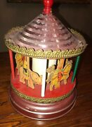 Vintage Merry-go-round Carnival Carousel Wind Up Tin Toy Pink
