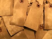 50 Medium 3 Primitive Coffee Stained Price Antique Store Gift Hang Tags Lot